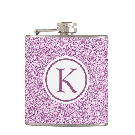 Custom Monogram Pink Sparkle Flask