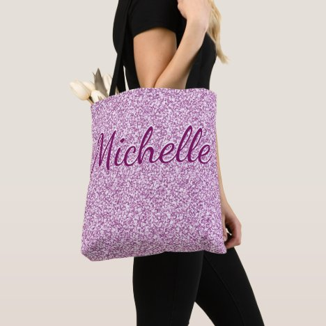 Custom Monogram Pink Sparkle Tote Bag