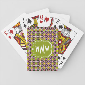 Custom Monogram Pink Yellow and Green Batik Patter Playing Cards