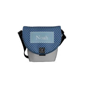 Custom Monogram Polka Dots School or Lunch Bag, Messenger Bag