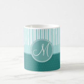Custom Monogram Polka Dots Stripes Pattern Coffee Mug