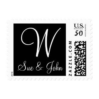 Custom Monogram Postage Stamp Black and White