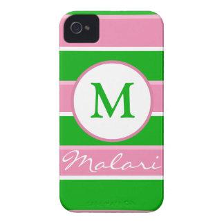 Custom Monogram Preppy Stripe iPhone 4/4S Case Case-Mate iPhone 4 Case