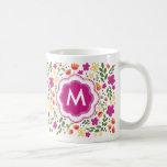 Custom Monogram Pretty Colorful Girly Floral Mug