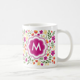 Custom Monogram Pretty Colorful Girly Floral Mug