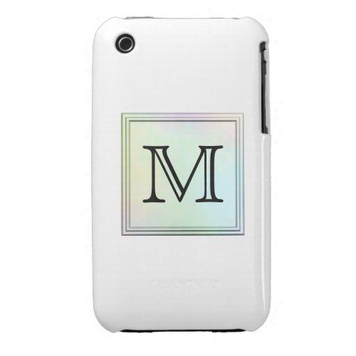 Custom Monogram. Pretty multicolor printed design. Case-Mate iPhone 3 Case