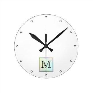 Custom Monogram. Pretty multicolor printed design. Round Clock