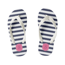 Custom Monogram Pretty Navy Blue Stripes Kid's Flip Flops
