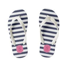 Custom Monogram Pretty Navy Blue Stripes Kid's Flip Flops at Zazzle