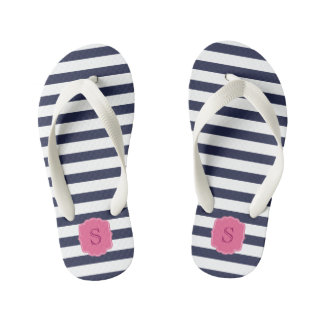 Custom Monogram Pretty Navy Blue Stripes Kid's Flip Flops