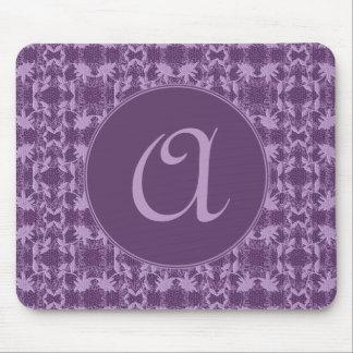 Custom Monogram Purple And Lavender Pattern Mouse Pad