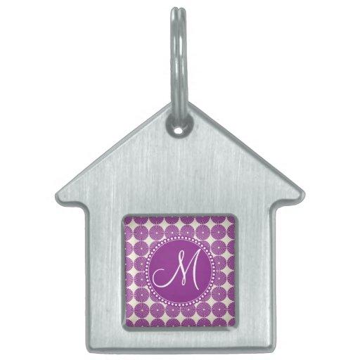 Custom Monogram Purple Circles Disks Buttons Pet Name Tags