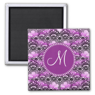 Custom Monogram Purple Lace Damask Pattern Magnet