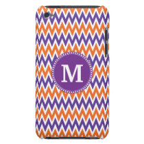 Custom Monogram Purple Orange Chevron Pattern Barely There iPod Cover