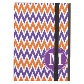 Custom Monogram Purple Orange Chevron Pattern iPad Cases