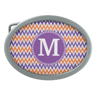 Custom Monogram Purple Orange Chevron Pattern Oval Belt Buckle