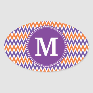 Custom Monogram Purple Orange Chevron Pattern Oval Sticker