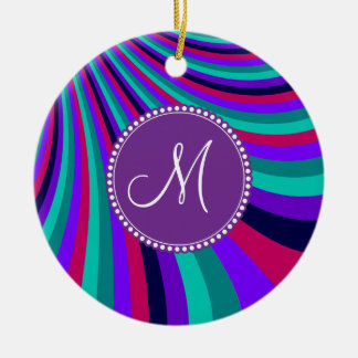 Custom Monogram Purple Pink Aqua Rainbow Stripes Ceramic Ornament