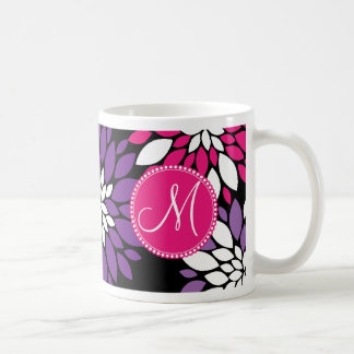 Custom Monogram Purple Pink White Flower Art Coffee Mug