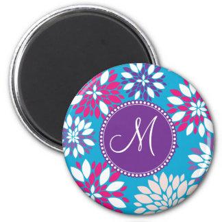 Custom Monogram Purple Pink White Flower on Blue 2 Inch Round Magnet