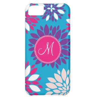 Custom Monogram Purple Pink White Flower on Blue iPhone 5C Cases