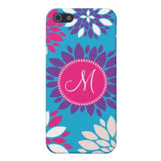Custom Monogram Purple Pink White Flower on Blue iPhone 5 Cases