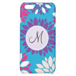 Custom Monogram Purple Pink White Flower on Blue iPhone 5C Covers
