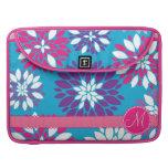 Custom Monogram Purple Pink White Flower on Blue MacBook Pro Sleeves