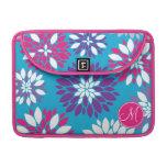 Custom Monogram Purple Pink White Flower on Blue Sleeves For MacBooks