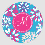Custom Monogram Purple Pink White Flower on Blue Round Stickers