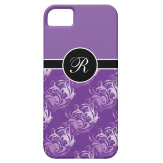 Custom Monogram Purple Swirls iPhone 5 Case