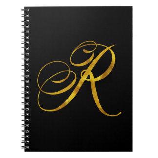 Custom Monogram R Faux Gold Foil Monograms Initial Notebook