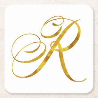 Custom Monogram R Faux Gold Foil Monograms Initial Square Paper Coaster