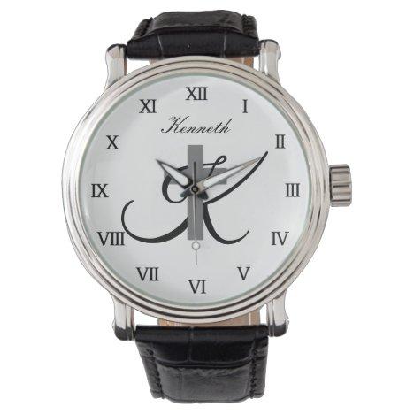Custom monogram religious cross watch gift for men