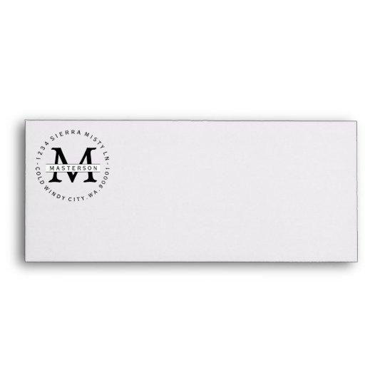 custom monogram return address business envelope