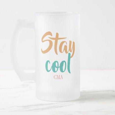 Custom Monogram Script Frosted Glass Beer Mug