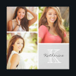 "Custom Monogram Senior Photo Collage Canvas Print<br><div class=""desc"">Beautiful personalized canvas wall art print with 3 of your custom senior photos arranged in a square grid photo collage with your name and monogram in the bottom corner. Add your favorite graduation photos and create a beautiful keepsake canvas art print. Click Customize It to move photos around, change the...</div>"