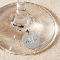Custom monogram silver glitter wine glass charms