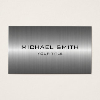 Custom Monogram Silver Stainless Steel Metal Business Card