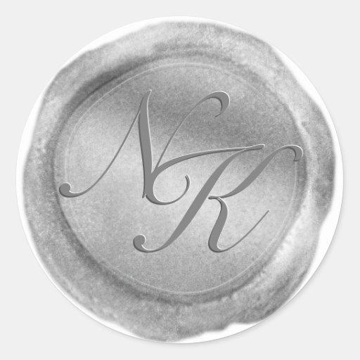 Custom Monogram Silver Wax Seal Sticker