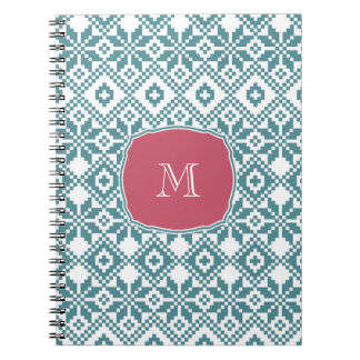 Custom Monogram Snowflake Pattern Gift Notebooks