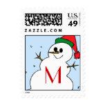 Custom Monogram Snowman Postage Stamp