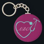 "Custom Monogram Stethoscope Key Chain<br><div class=""desc"">Have this custom monogrammed key chain to show your love for your profession</div>"