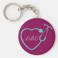Custom Monogram Stethoscope Key Chain