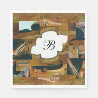 Custom Monogram Stringed Instrument Collage Paper Napkin