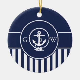Custom Monogram Striped Nautical Anchor and Line Ceramic Ornament
