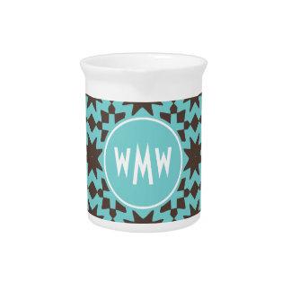 Custom Monogram Stylish Chic Decorative Pattern Beverage Pitcher