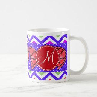 Custom Monogram Summer Chevron Grapefruit Gifts Basic White Mug