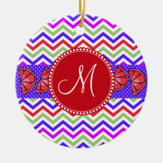 Custom Monogram Summer Chevron Grapefruit Gifts Double-Sided Ceramic Round Christmas Ornament