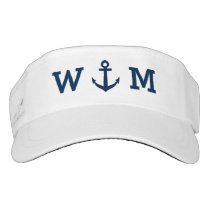 Custom monogram sun visor cap with nautical anchor